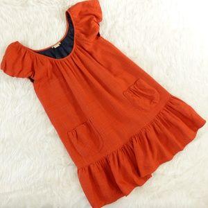 Doucette Duvall Orange Retro Babydoll Dress